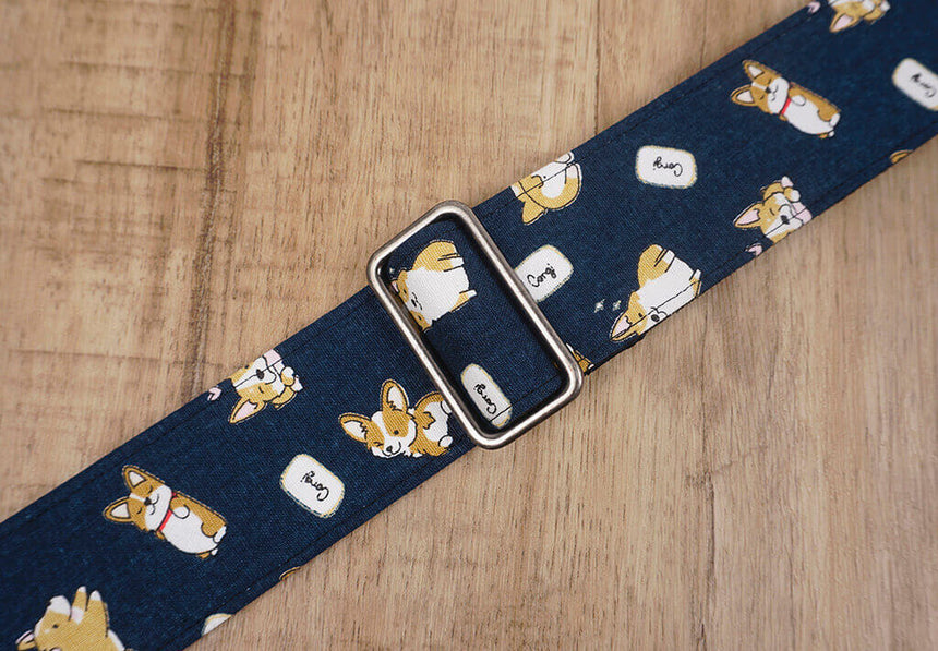 funny Corgi dog cute guitar strap with leather ends -6