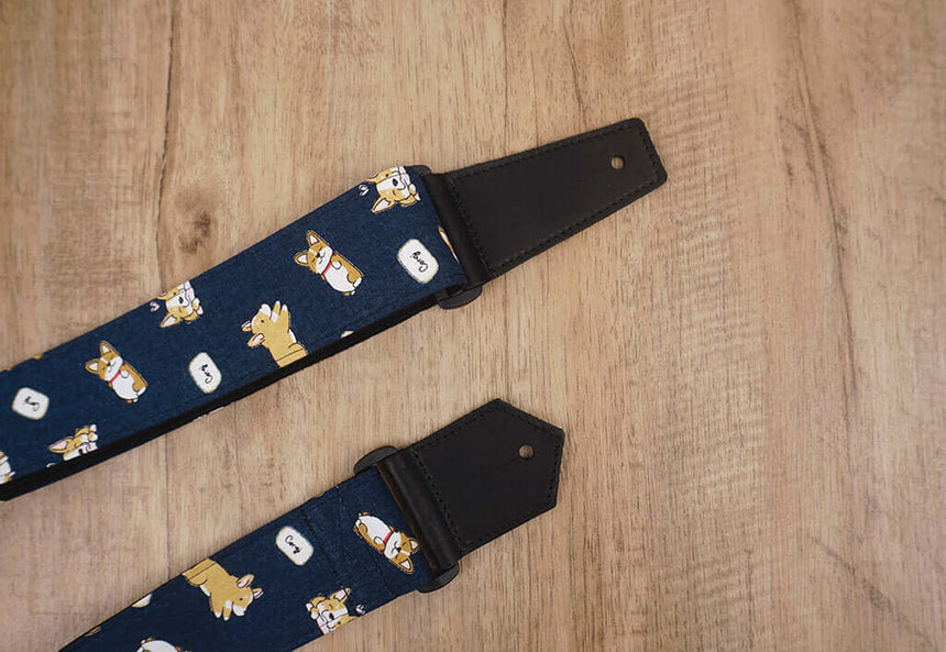 funny Corgi dog cute guitar strap with leather ends -7