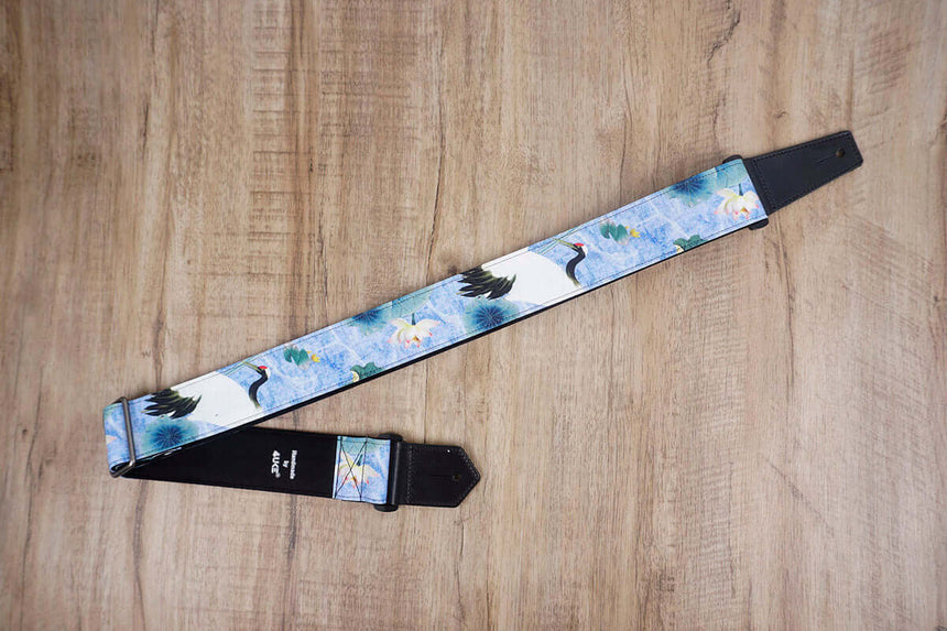 crane and lotus guitar strap with leather ends-2