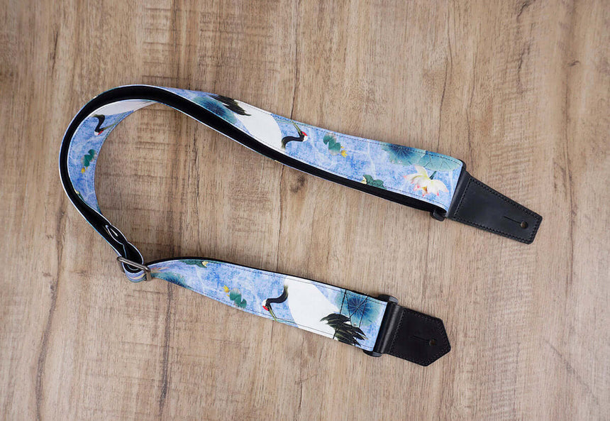 crane and lotus guitar strap with leather ends-3