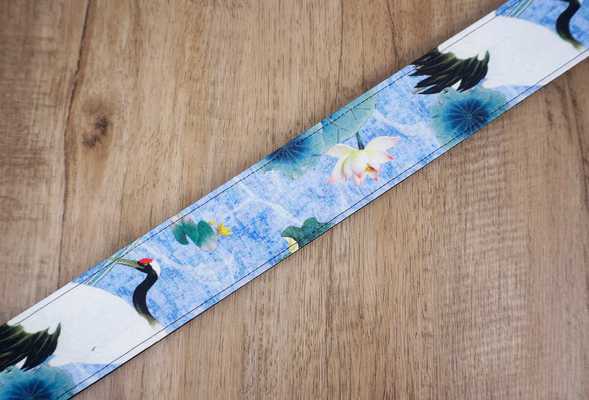 crane and lotus guitar strap with leather ends-5