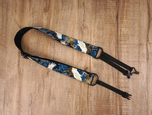 crane and chrysanthemums clip on ukulele hook strap-2