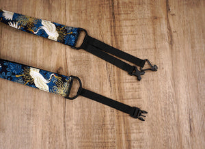 crane and chrysanthemums clip on ukulele hook strap-3