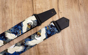 crane and chrysanthemums printed guitar strap with leather ends-5