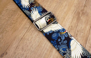 crane and chrysanthemums printed guitar strap with leather ends-6