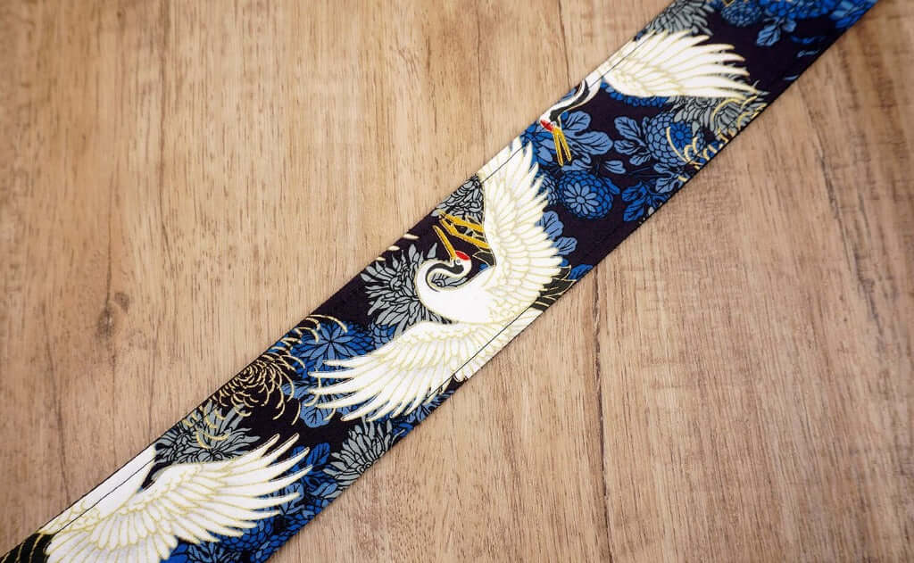 crane and chrysanthemums printed guitar strap with leather ends-7