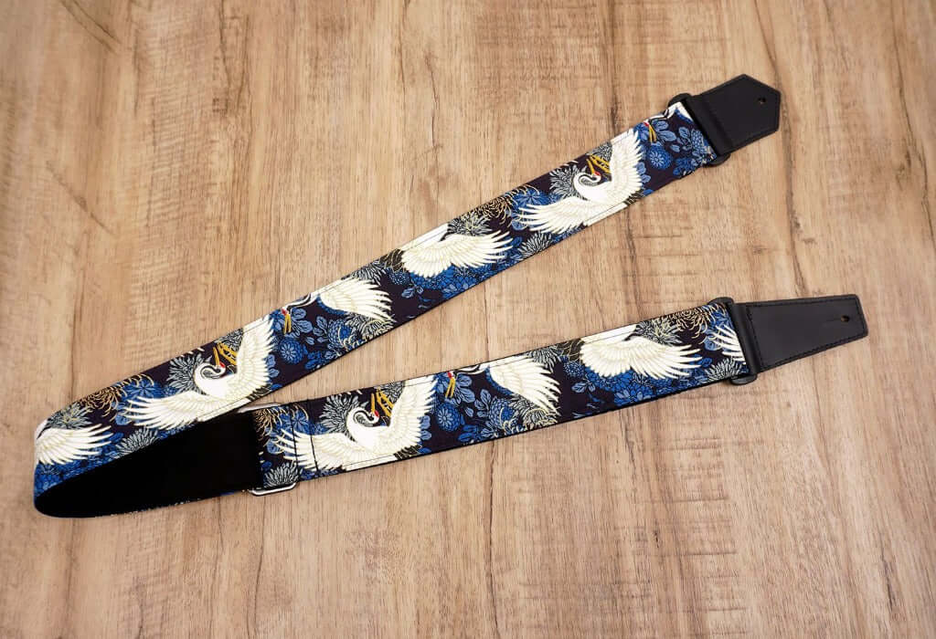 crane and chrysanthemums printed guitar strap with leather ends-4