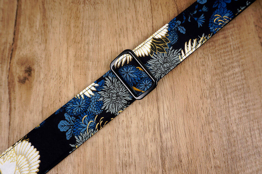 crane and chrysanthemums ukulele shoulder strap with leather ends-3
