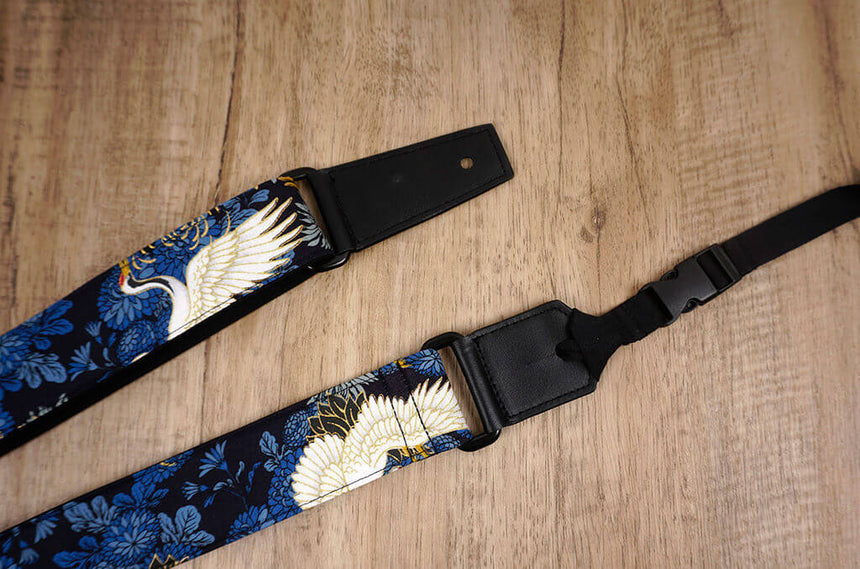 crane and chrysanthemums ukulele shoulder strap with leather ends-6