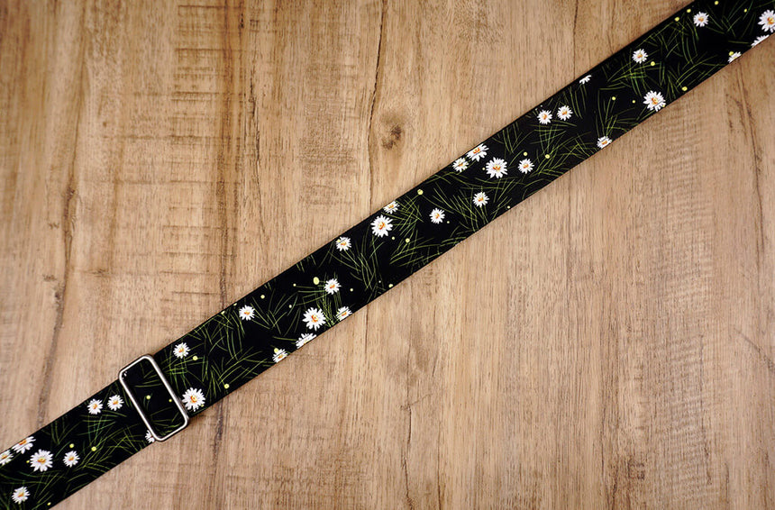 White Daisy floral guitar strap with leather ends-4