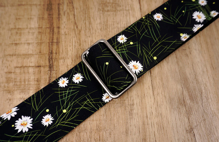 White Daisy floral guitar strap with leather ends-6