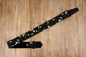 White Daisy guitar strap with leather ends-7