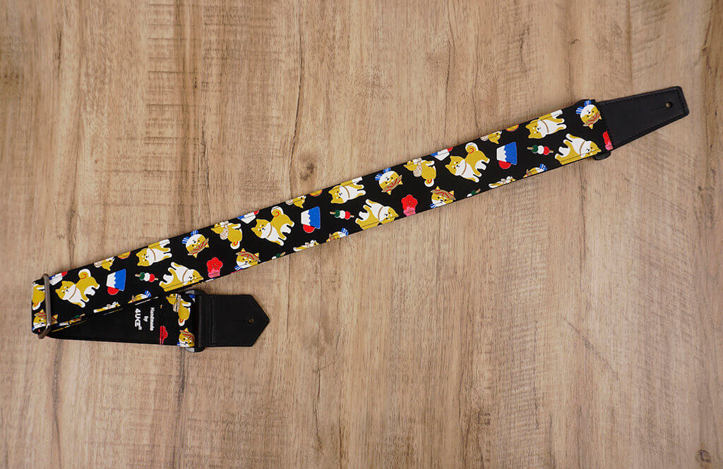 Akita Dog Guitar Strap with leather ends-2