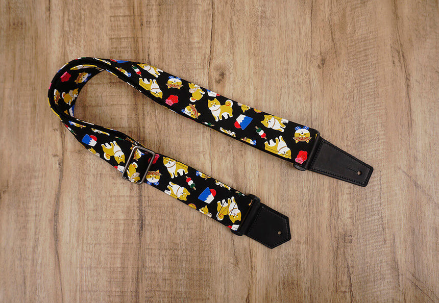 Personalized Akita Dog Guitar Strap with leather ends-3
