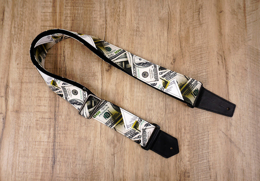 Dollars funny guitar strap with leather ends -2