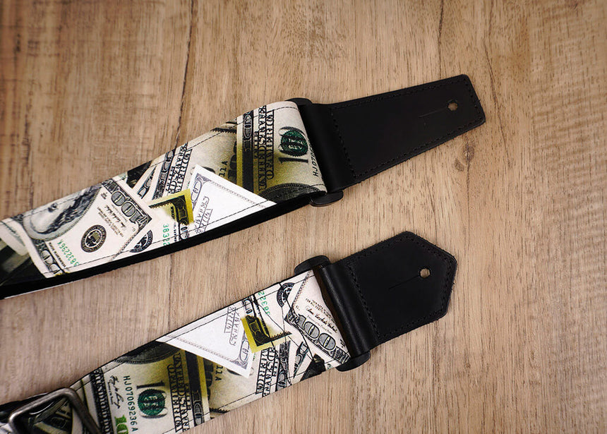 Dollars funny guitar strap with leather ends -3