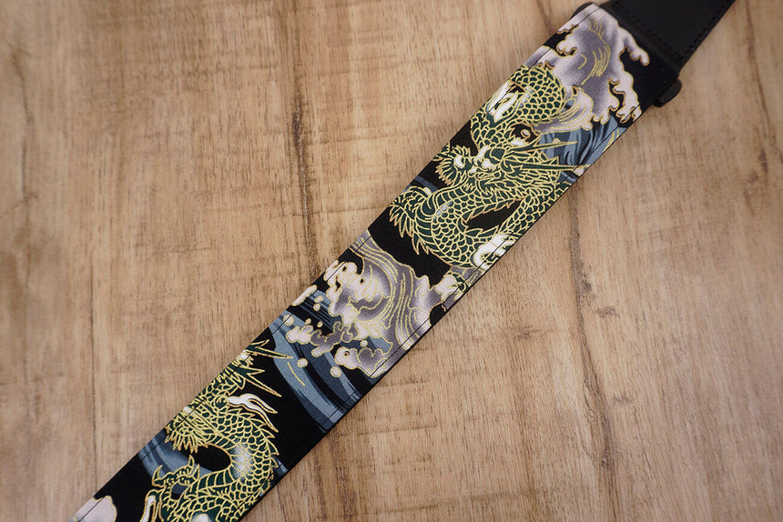 Chinese Dragon Guitar Strap with leather ends-4