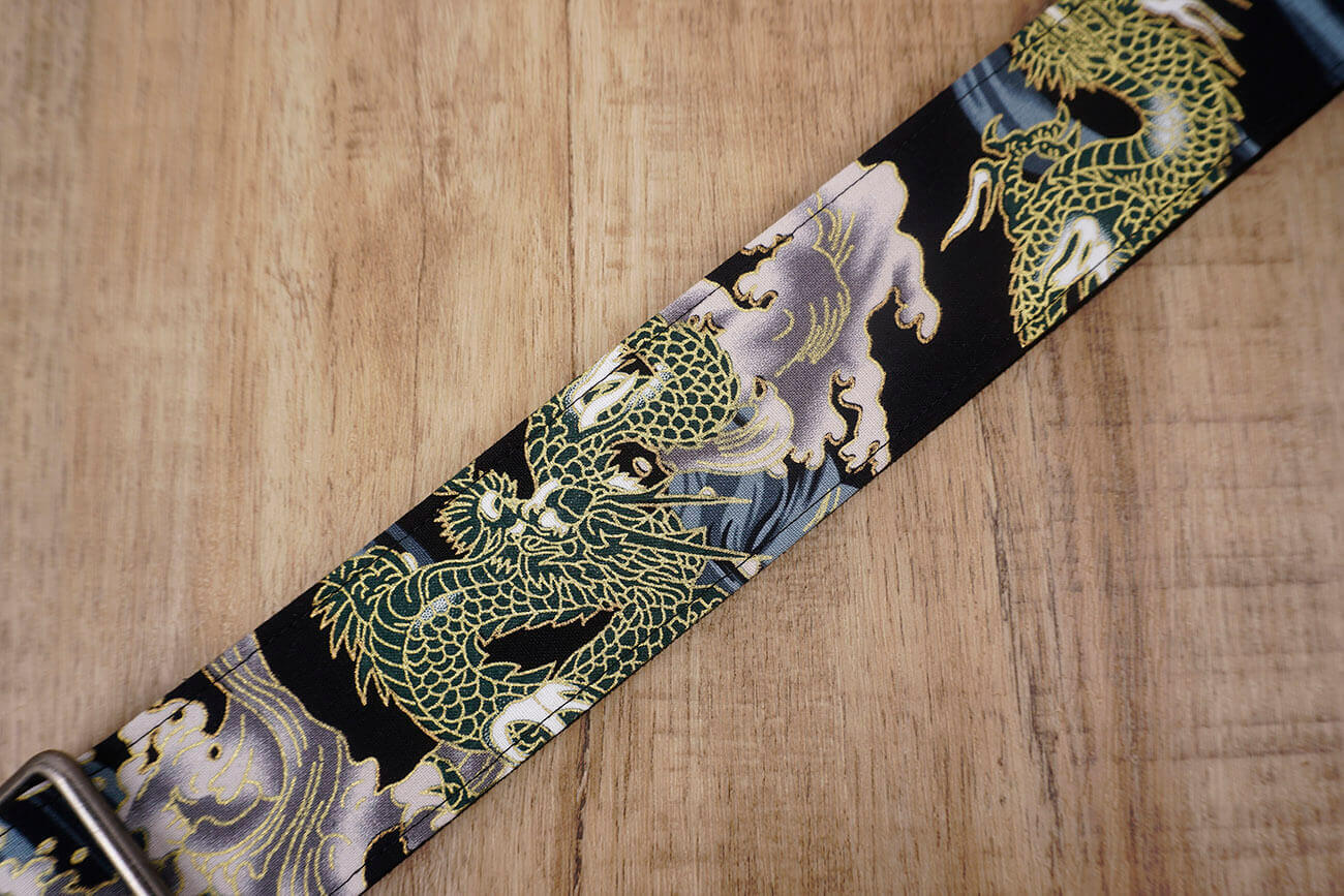Chinese dragon guitar strap with leather ends-3