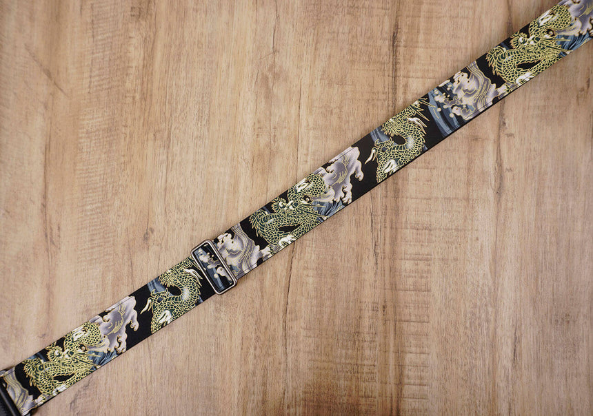 Chinese Dragon Guitar Strap with leather ends-6