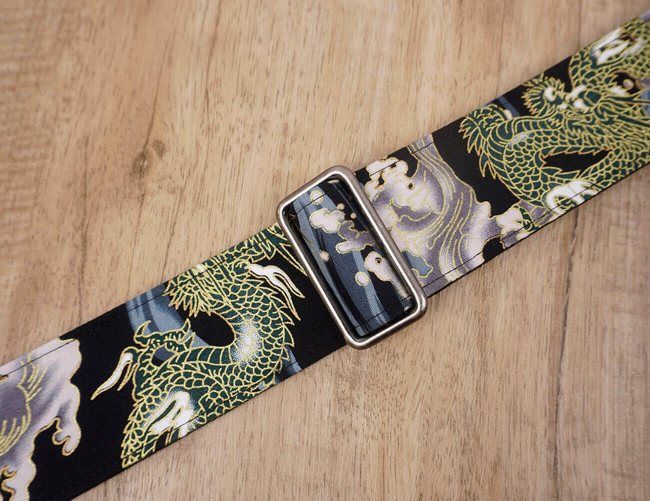 Chinese dragon guitar strap with leather ends-2