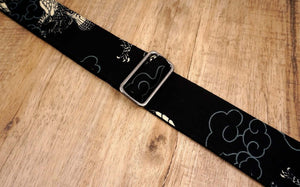 white eagle guitar strap on black with leather ends-3