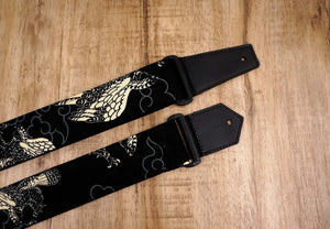 white eagle guitar strap on black with leather ends-4