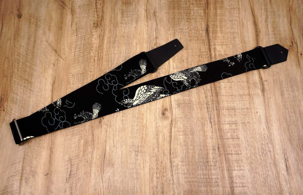 white eagle guitar strap on black with leather ends-5