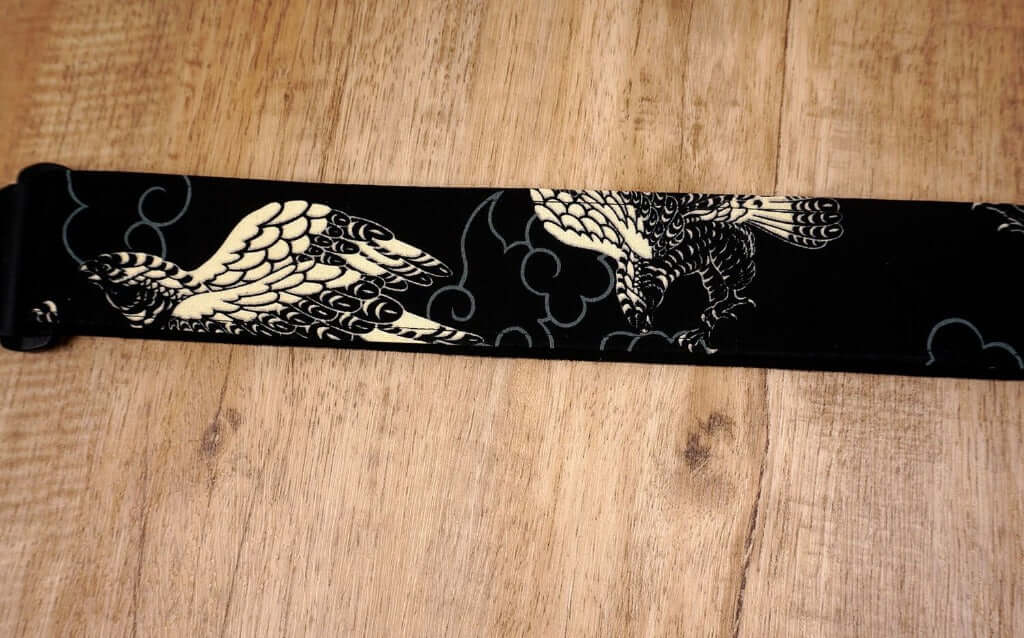 white eagle guitar strap on black with leather ends-6