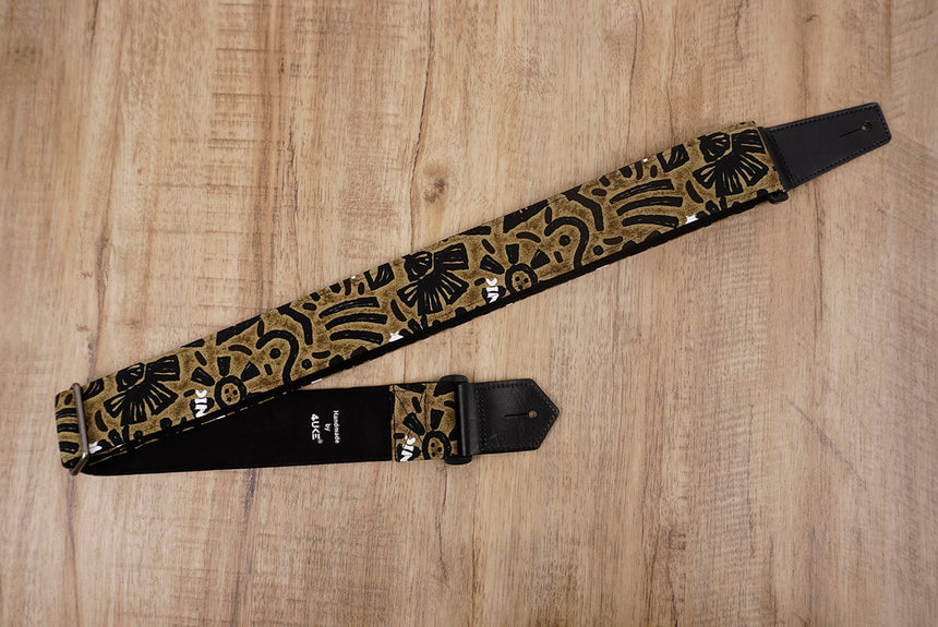 exotic totem guitar strap with leather ends-5