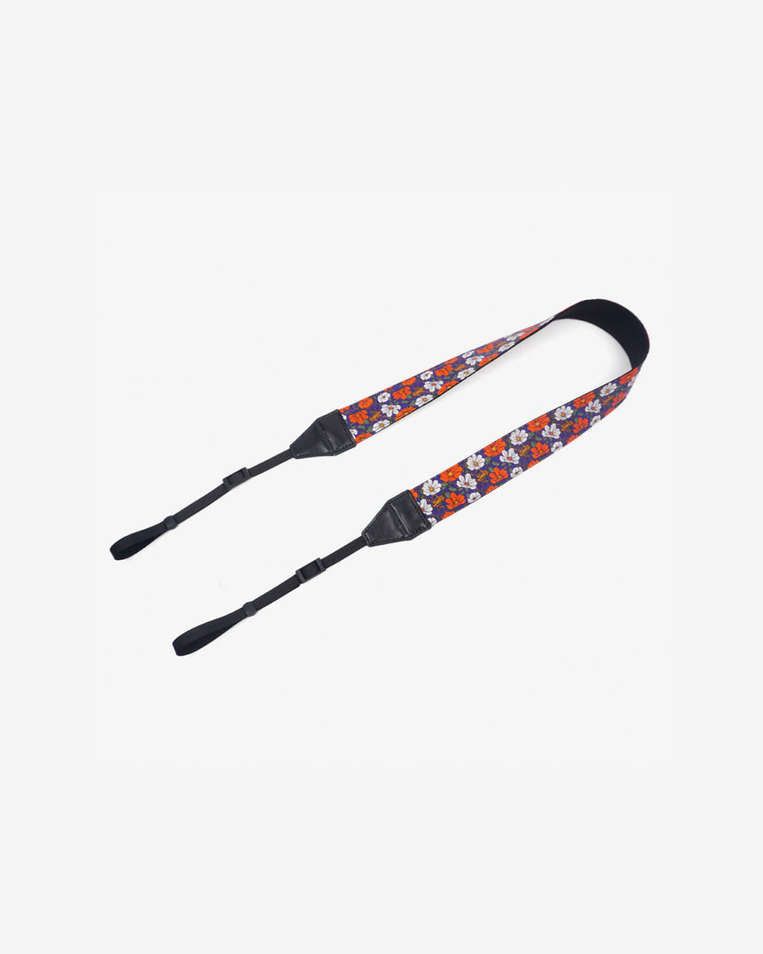 red white flowers camera strap-1