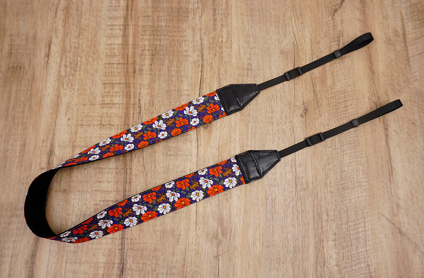 red white flowers camera strap-2