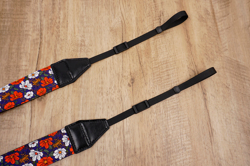 red white flowers camera strap-3