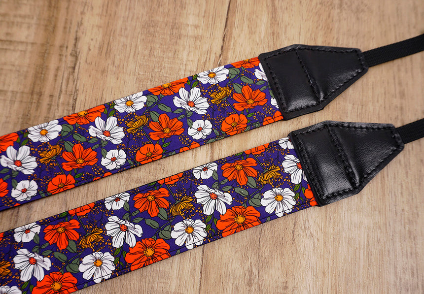 red white flowers camera strap-4