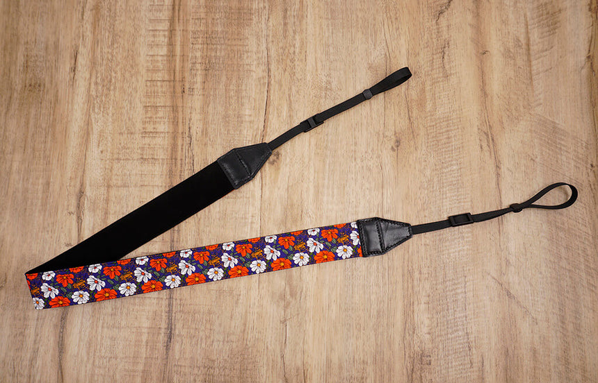 red white flowers camera strap-5