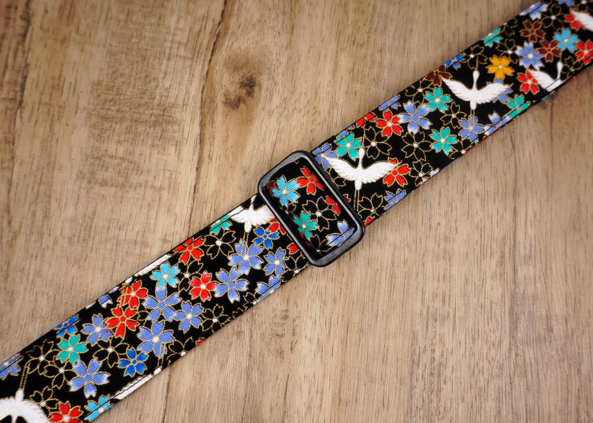 fly crane and sakura ukulele strap with leather ends-3