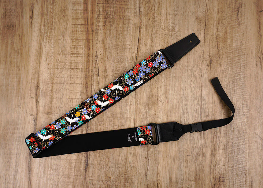fly crane and sakura ukulele strap with leather ends-6