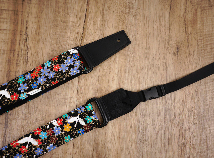fly crane and sakura ukulele strap with leather ends-7