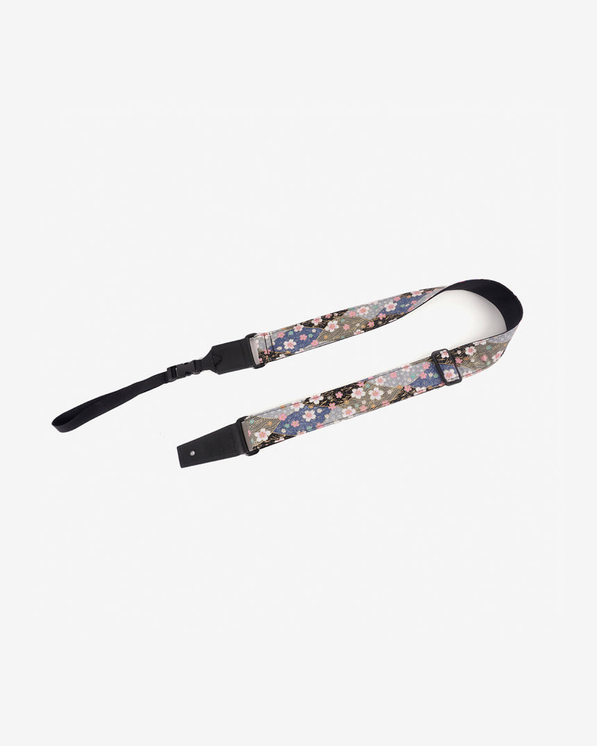 Japanese style sakura leather ends ukulele strap-front