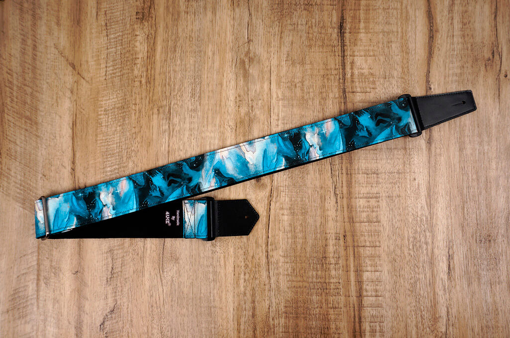 blue galaxy guitar strap with leather ends-4