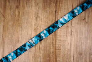 blue galaxy guitar strap with leather ends-5