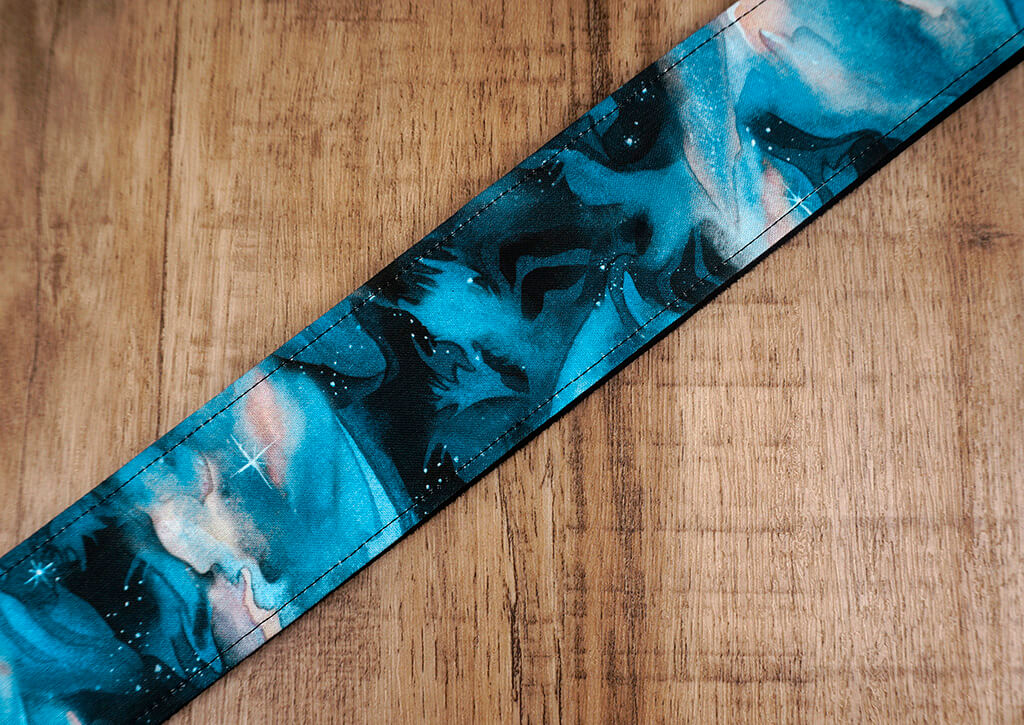 blue galaxy guitar strap with leather ends-6