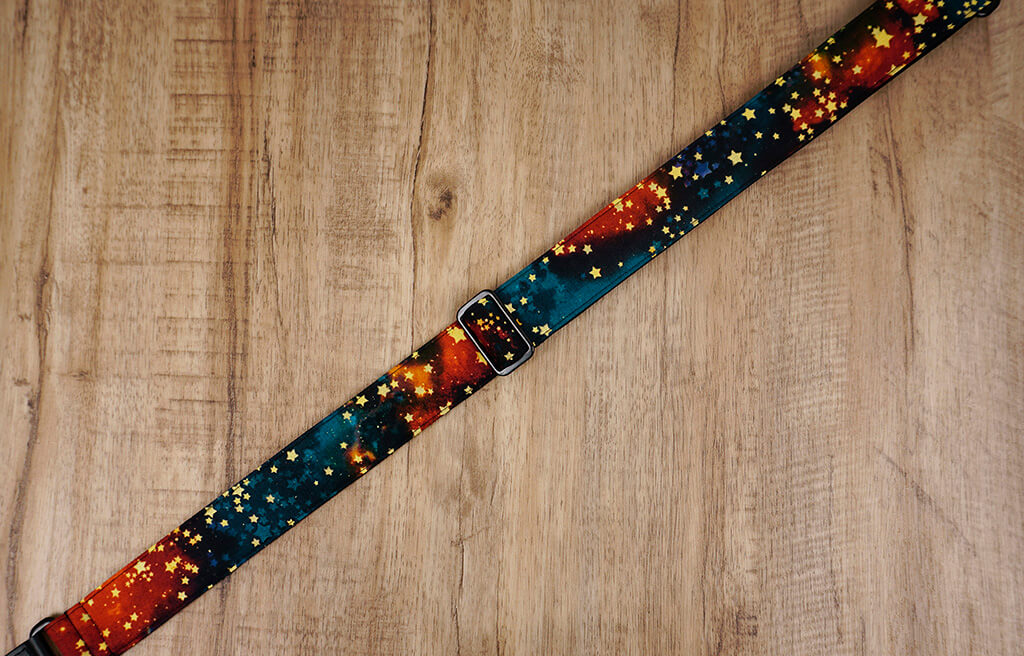 galaxy stars ukulele shoulder strap with leather ends-4