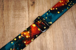 galaxy stars ukulele shoulder strap with leather ends-6