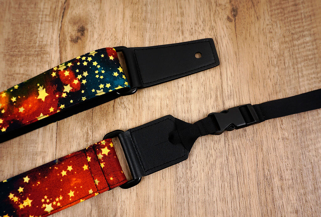 galaxy stars ukulele shoulder strap with leather ends-7