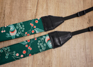 Green Bird and Fruit printed vintage camera strap-4