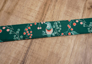 Green Bird and Fruit printed vintage camera strap-6