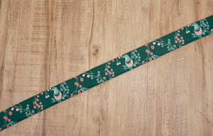 Green Bird and Fruit printed vintage camera strap-7