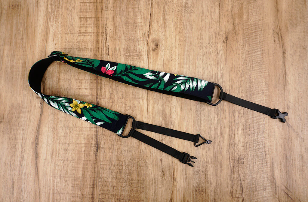 Hawaiian leaf and flower clip on ukulele hook strap, no drill, no button-2