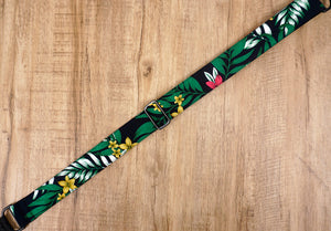 Hawaiian leaf and flower clip on ukulele hook strap, no drill, no button-4