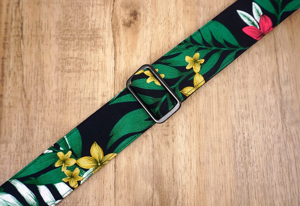 Hawaiian leaf and flower clip on ukulele hook strap, no drill, no button-6